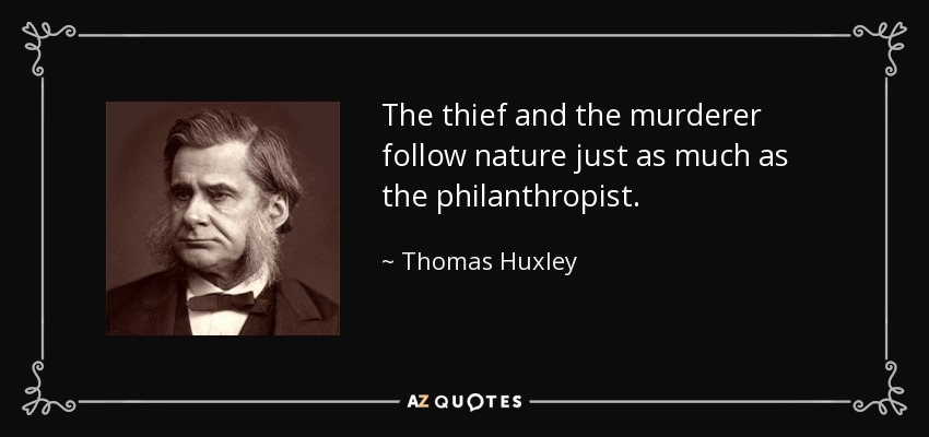 The thief and the murderer follow nature just as much as the philanthropist. - Thomas Huxley