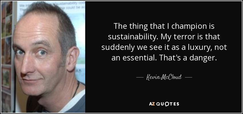 The thing that I champion is sustainability. My terror is that suddenly we see it as a luxury, not an essential. That's a danger. - Kevin McCloud