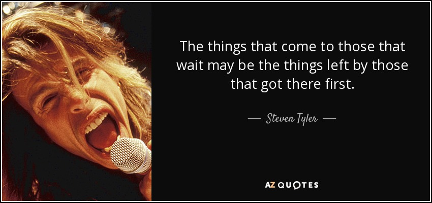 The things that come to those that wait may be the things left by those that got there first. - Steven Tyler