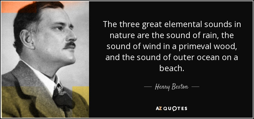 The three great elemental sounds in nature are the sound of rain, the sound of wind in a primeval wood, and the sound of outer ocean on a beach. - Henry Beston