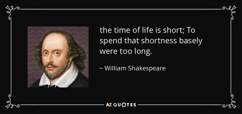 William Shakespeare Quote The Time Of Life Is Short To Spend That