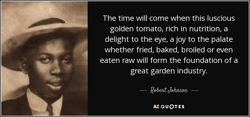 The time will come when this luscious golden tomato, rich in nutrition, a delight to the eye, a joy to the palate whether fried, baked, broiled or even eaten raw will form the foundation of a great garden industry. - Robert Johnson