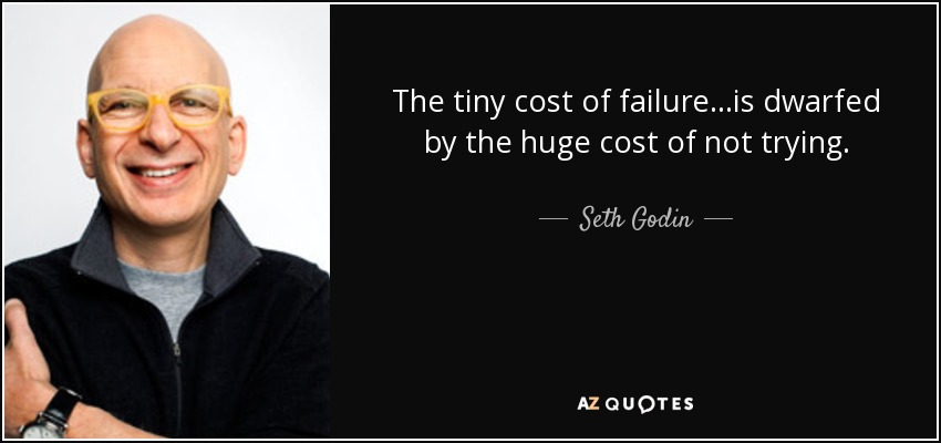 The tiny cost of failure...is dwarfed by the huge cost of not trying. - Seth Godin