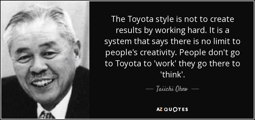 Taiichi Ohno Quote The Toyota Style Is Not To Create Results By Working