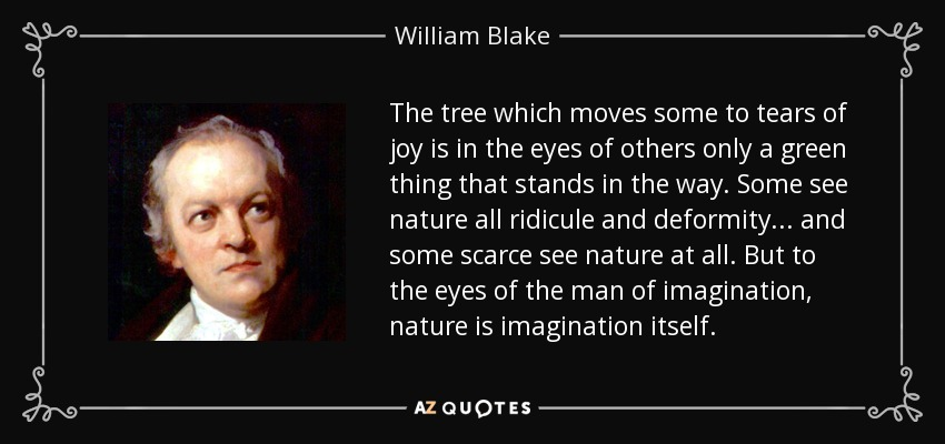 The tree which moves some to tears of joy is in the eyes of others only a green thing that stands in the way. Some see nature all ridicule and deformity... and some scarce see nature at all. But to the eyes of the man of imagination, nature is imagination itself. - William Blake