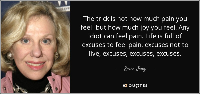 The trick is not how much pain you feel--but how much joy you feel. Any idiot can feel pain. Life is full of excuses to feel pain, excuses not to live, excuses, excuses, excuses. - Erica Jong