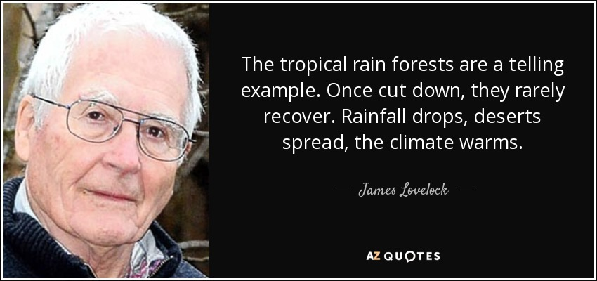 The tropical rain forests are a telling example. Once cut down, they rarely recover. Rainfall drops, deserts spread, the climate warms. - James Lovelock
