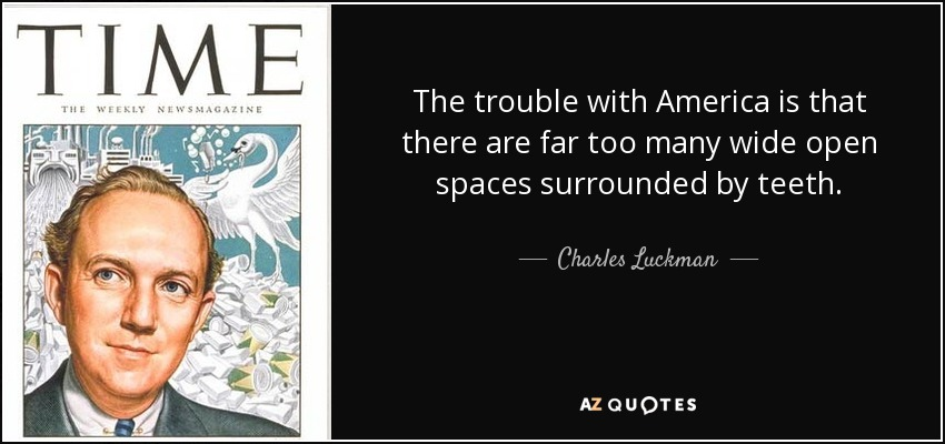 The trouble with America is that there are far too many wide open spaces surrounded by teeth. - Charles Luckman