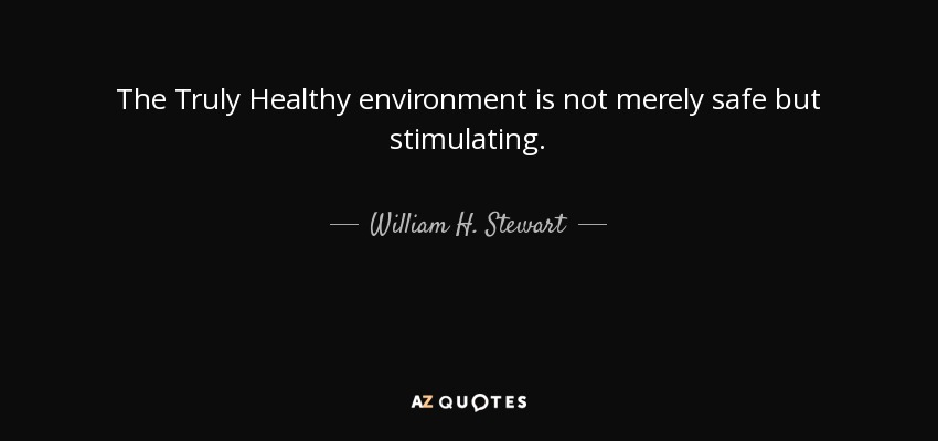 The Truly Healthy environment is not merely safe but stimulating. - William H. Stewart