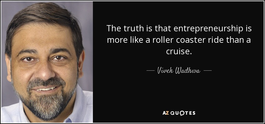 The truth is that entrepreneurship is more like a roller coaster ride than a cruise. - Vivek Wadhwa