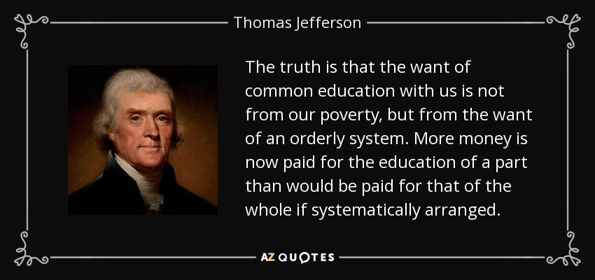 thomas jeffersons views on education Jefferson believed education for all was one must wonder what thomas jefferson would think if he were to view the current thomas the portable thomas jefferson.
