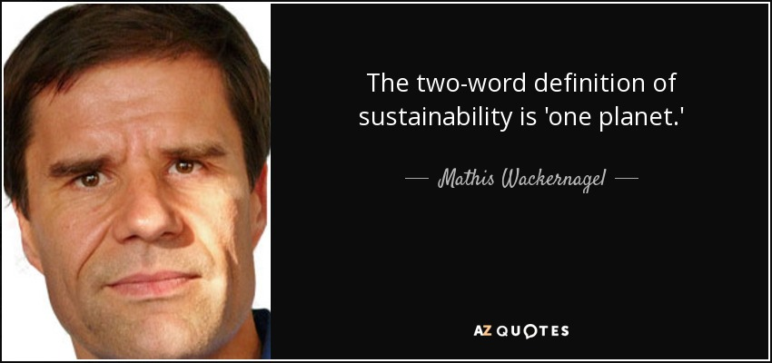 The two-word definition of sustainability is 'one planet.' - Mathis Wackernagel