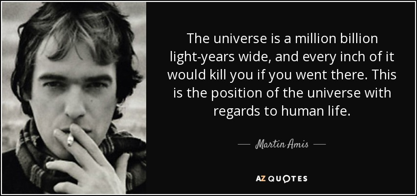 The universe is a million billion light-years wide, and every inch of it would kill you if you went there. This is the position of the universe with regards to human life. - Martin Amis
