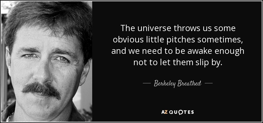 The universe throws us some obvious little pitches sometimes, and we need to be awake enough not to let them slip by. - Berkeley Breathed