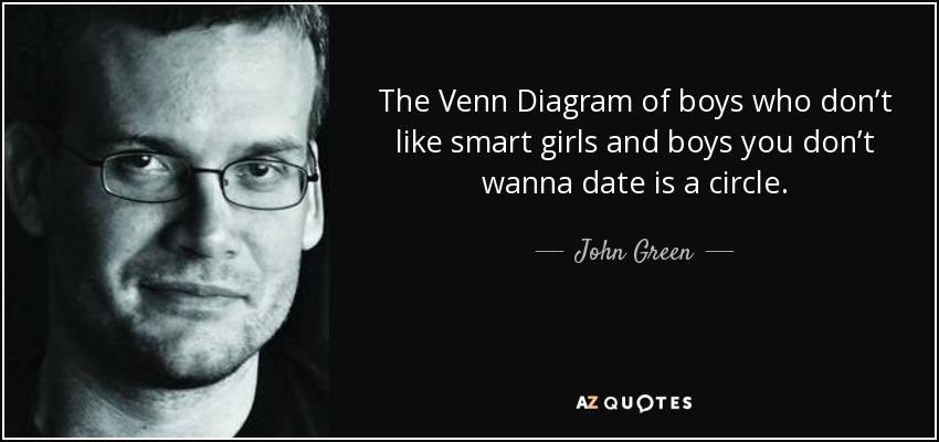 John Green Quote The Venn Diagram Of Boys Who Dont Like Smart Girls