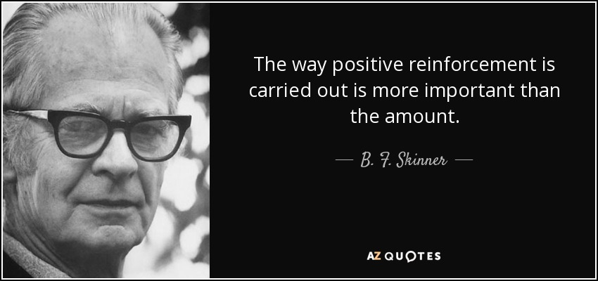 The way positive reinforcement is carried out is more important than the amount. - B. F. Skinner