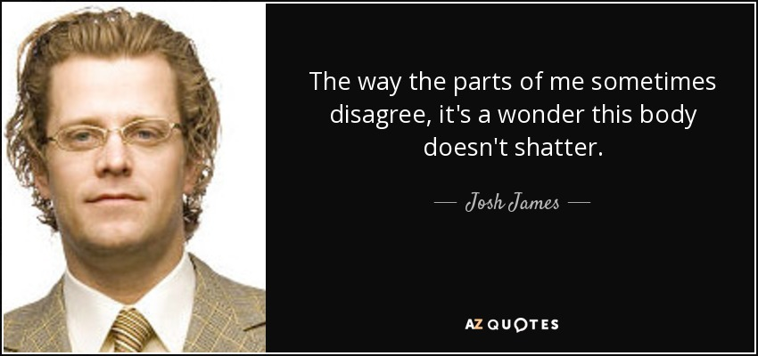 The way the parts of me sometimes disagree, it's a wonder this body doesn't shatter. - Josh James