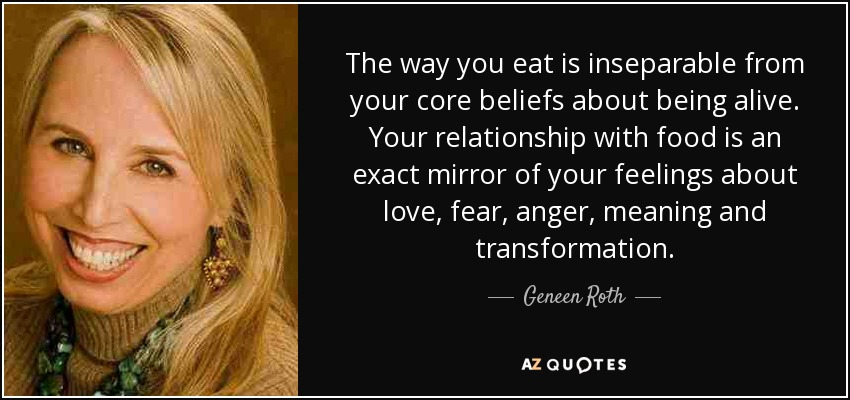 The way you eat is inseparable from your core beliefs about being alive. Your relationship with food is an exact mirror of your feelings about love, fear, anger, meaning and transformation. - Geneen Roth
