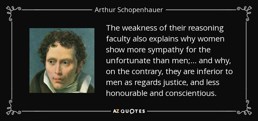 The weakness of their reasoning faculty also explains why women show more sympathy for the unfortunate than men;... and why, on the contrary, they are inferior to men as regards justice, and less honourable and conscientious. - Arthur Schopenhauer