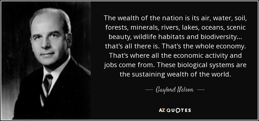The wealth of the nation is its air, water, soil, forests, minerals, rivers, lakes, oceans, scenic beauty, wildlife habitats and biodiversity... that's all there is. That's the whole economy. That's where all the economic activity and jobs come from. These biological systems are the sustaining wealth of the world. - Gaylord Nelson