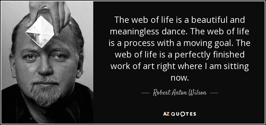 The web of life is a beautiful and meaningless dance. The web of life is a process with a moving goal. The web of life is a perfectly finished work of art right where I am sitting now. - Robert Anton Wilson