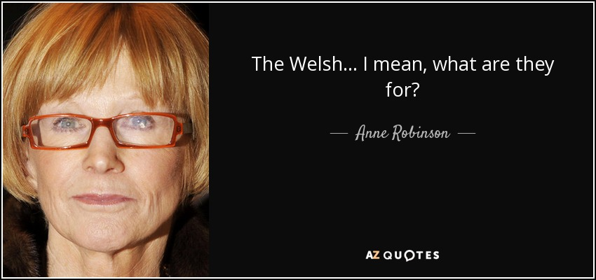 The Welsh... I mean, what are they for? - Anne Robinson