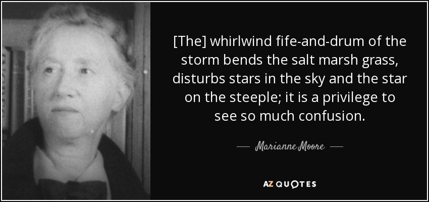 [The] whirlwind fife-and-drum of the storm bends the salt marsh grass, disturbs stars in the sky and the star on the steeple; it is a privilege to see so much confusion. - Marianne Moore