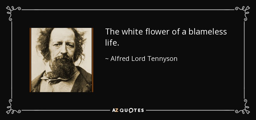 The white flower of a blameless life. - Alfred Lord Tennyson