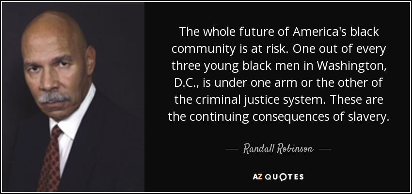 The whole future of America's black community is at risk. One out of every three young black men in Washington, D.C., is under one arm or the other of the criminal justice system. These are the continuing consequences of slavery. - Randall Robinson