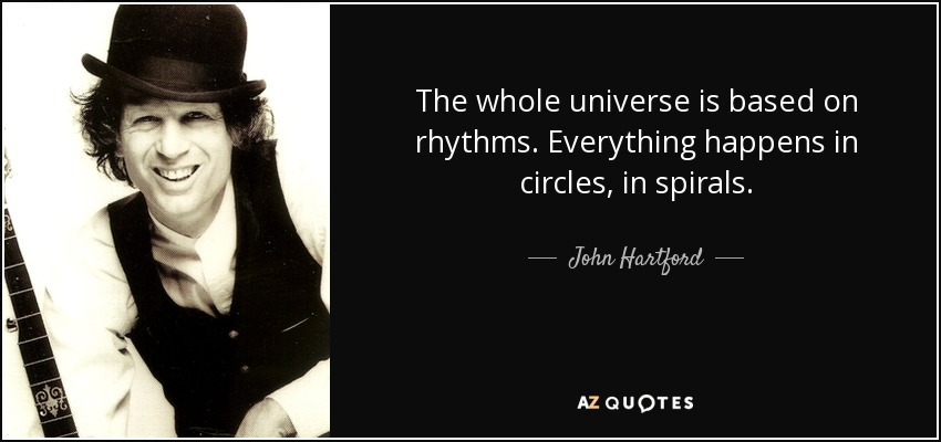 The whole universe is based on rhythms. Everything happens in circles, in spirals. - John Hartford
