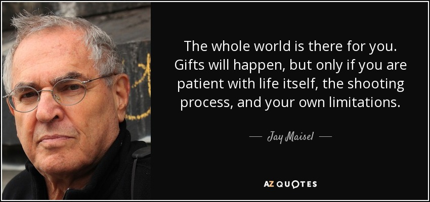 The whole world is there for you. Gifts will happen, but only if you are patient with life itself, the shooting process, and your own limitations. - Jay Maisel