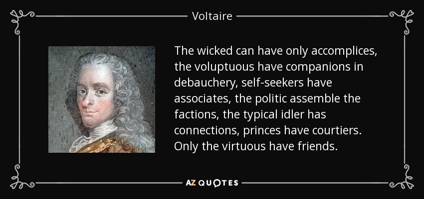 The wicked can have only accomplices, the voluptuous have companions in debauchery, self-seekers have associates, the politic assemble the factions, the typical idler has connections, princes have courtiers. Only the virtuous have friends. - Voltaire