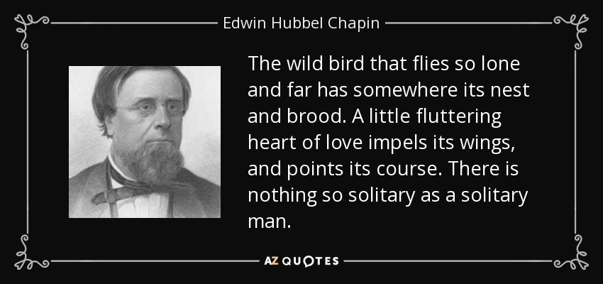The wild bird that flies so lone and far has somewhere its nest and brood. A little fluttering heart of love impels its wings, and points its course. There is nothing so solitary as a solitary man. - Edwin Hubbel Chapin