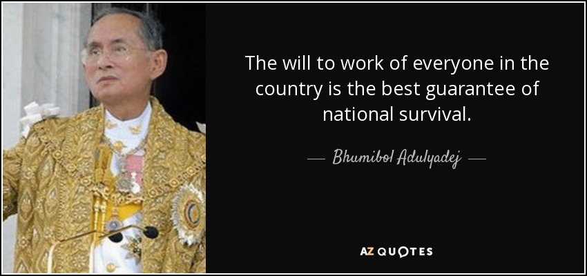 The will to work of everyone in the country is the best guarantee of national survival. - Bhumibol Adulyadej