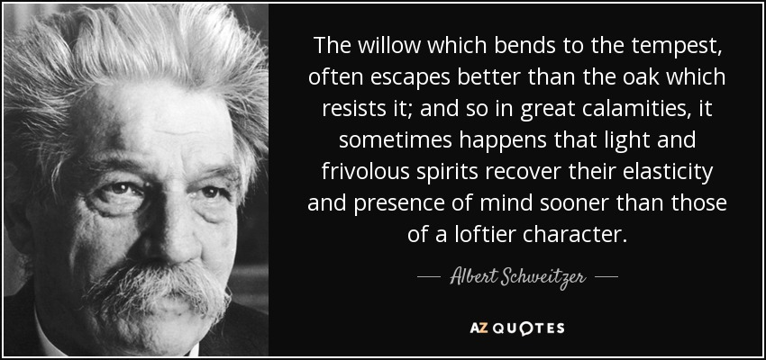 The willow which bends to the tempest, often escapes better than the oak which resists it; and so in great calamities, it sometimes happens that light and frivolous spirits recover their elasticity and presence of mind sooner than those of a loftier character. - Albert Schweitzer