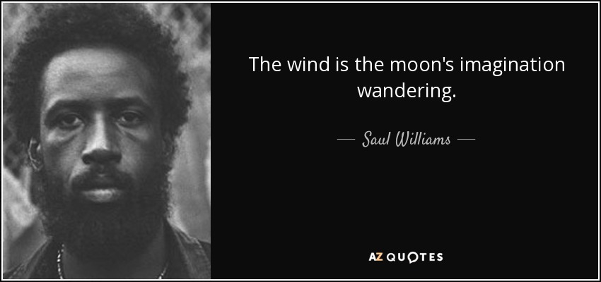 The wind is the moon's imagination wandering. - Saul Williams