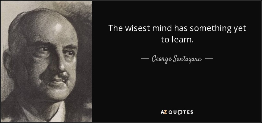 The wisest mind has something yet to learn. - George Santayana