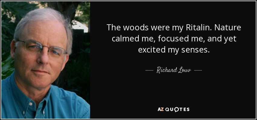 The woods were my Ritalin. Nature calmed me, focused me, and yet excited my senses. - Richard Louv