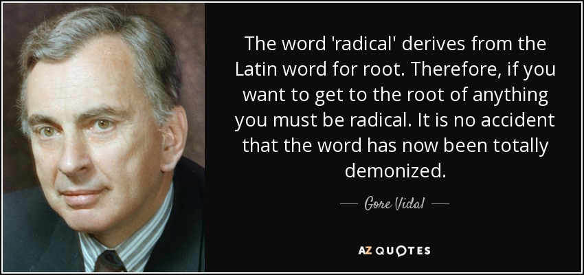 The word 'radical' derives from the Latin word for root. Therefore, if you want to get to the root of anything you must be radical. It is no accident that the word has now been totally demonized. - Gore Vidal