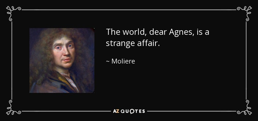 The world, dear Agnes, is a strange affair. - Moliere