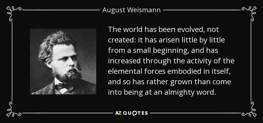 The world has been evolved, not created: it has arisen little by little from a small beginning, and has increased through the activity of the elemental forces embodied in itself, and so has rather grown than come into being at an almighty word. - August Weismann