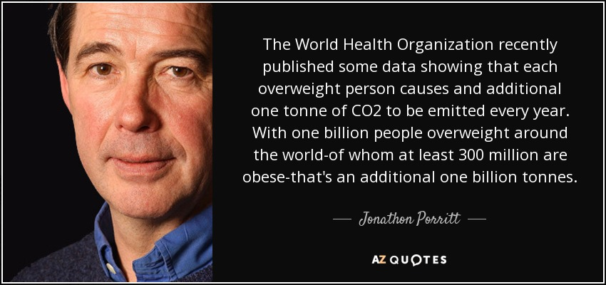 The World Health Organization recently published some data showing that each overweight person causes and additional one tonne of CO2 to be emitted every year. With one billion people overweight around the world-of whom at least 300 million are obese-that's an additional one billion tonnes. - Jonathon Porritt
