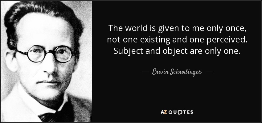 The world is given to me only once, not one existing and one perceived. Subject and object are only one. - Erwin Schrodinger