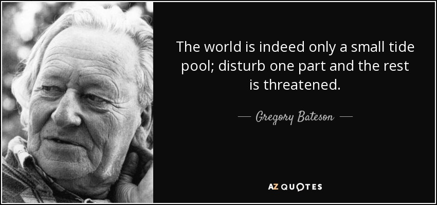 The world is indeed only a small tide pool; disturb one part and the rest is threatened. - Gregory Bateson