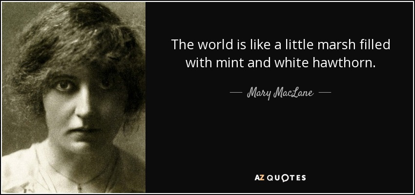 The world is like a little marsh filled with mint and white hawthorn. - Mary MacLane