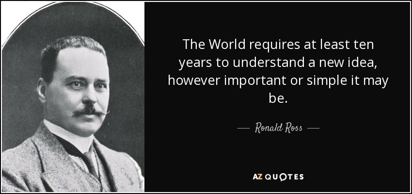 The World requires at least ten years to understand a new idea, however important or simple it may be. - Ronald Ross