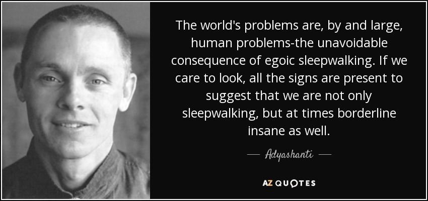The world's problems are, by and large, human problems-the unavoidable consequence of egoic sleepwalking. If we care to look, all the signs are present to suggest that we are not only sleepwalking, but at times borderline insane as well. - Adyashanti