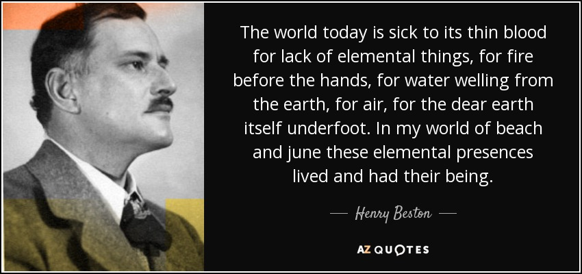 The world today is sick to its thin blood for lack of elemental things, for fire before the hands, for water welling from the earth, for air, for the dear earth itself underfoot. In my world of beach and june these elemental presences lived and had their being... - Henry Beston