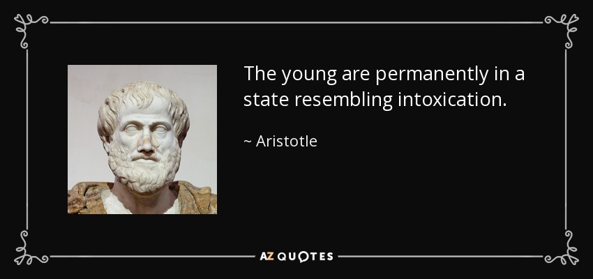 The young are permanently in a state resembling intoxication. - Aristotle
