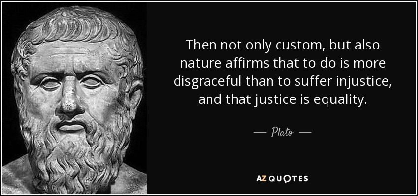 Then not only custom, but also nature affirms that to do is more disgraceful than to suffer injustice, and that justice is equality. - Plato